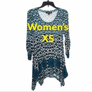 Context XS Asymmetrical Knit Tunic Top Teal Black
